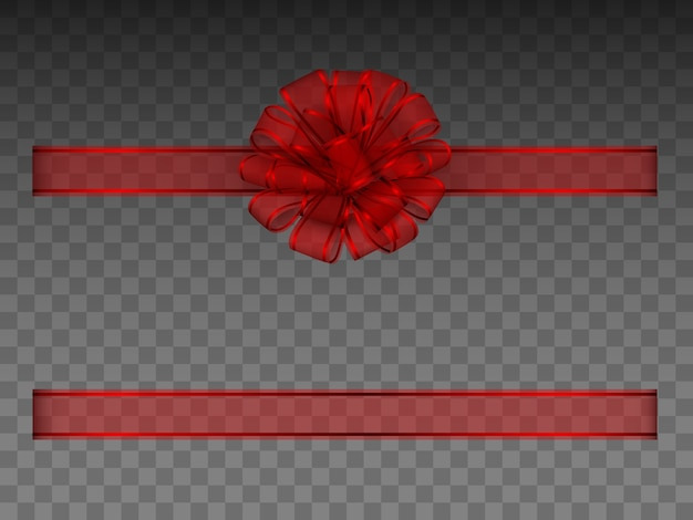 Red  transparent bow and ribbon