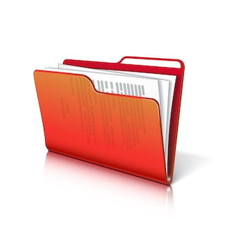 Red transparent folder with papers