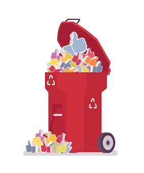 Red trash bin with likes