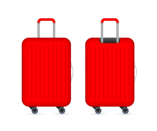 Red travel plastic suitcase with wheels realistic .