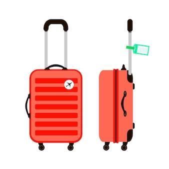 赤い旅行スーツケースのイラスト