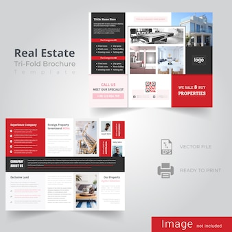Red tri fold brochure design for real estate company