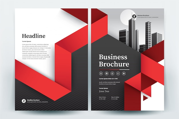 Red triangle business brochure layout template