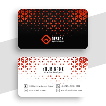 Red triangle halftone business card template
