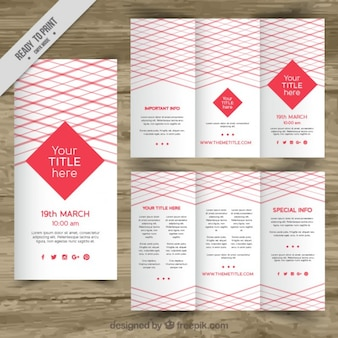 Red trifold brochure template