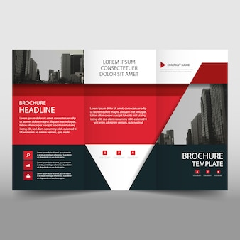 Red trifold business brochure template with triangular shapes