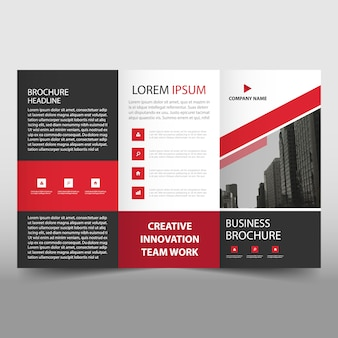 Red trifold business flyer template