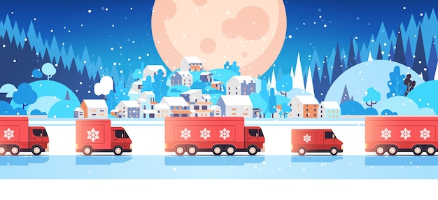 Red trucks delivering gifts merry christmas happy new year holidays celebration express delivery concept winter landscape background horizontal vector illustration