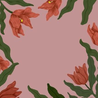 ピンクの背景イラストの赤いチューリップフレーム