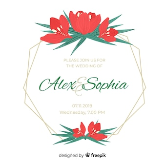 Red tulips frame weeding invitation