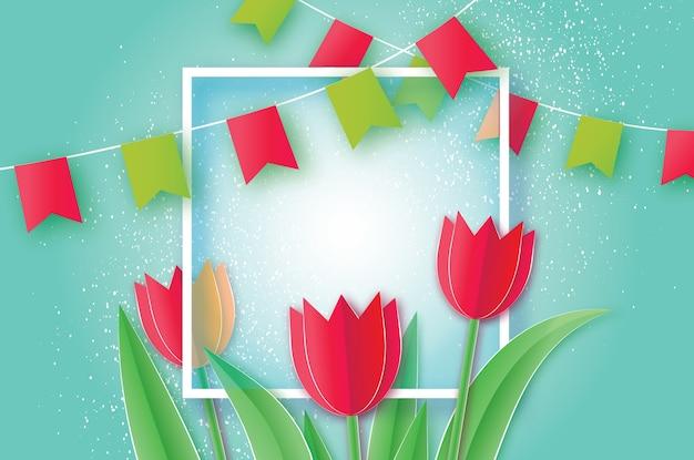 赤いチューリップペーパーカット花。折り紙の花の花束。正方形のフレーム、フラグ、テキスト用のスペース。