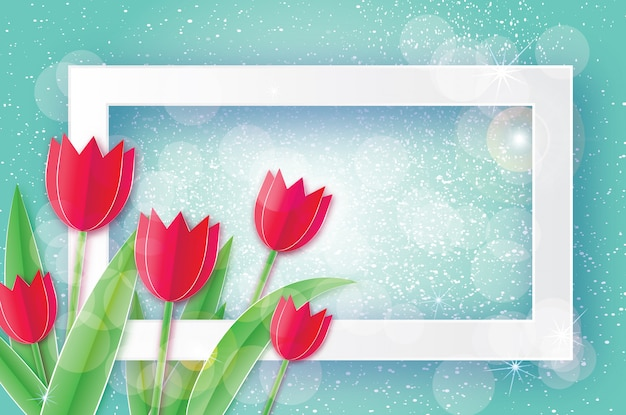 Red tulips and rectangle frame