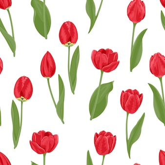 Red tulips seamless pattern.