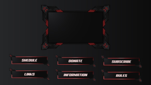 Red twitch streamer panel overlay template
