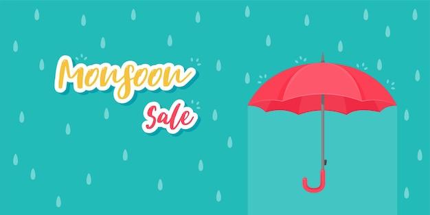 モンスーン中の暴風雨から保護するための赤い傘。商品販売。