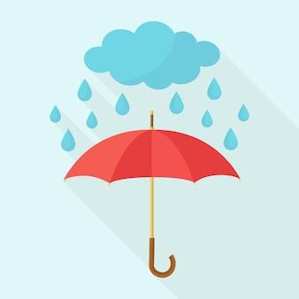 雨の中の赤い傘。雲からのアクア液滴