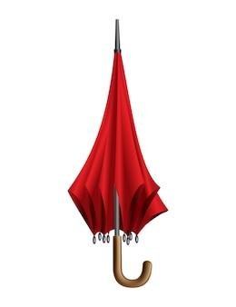 빨간 우산. 흰색 배경에 고립. 접힌 파라솔. 휴대용 비 또는 바람막이 보호.