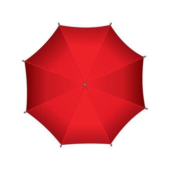 빨간 우산. 흰색 배경에 고립. 상위 뷰에서 파라솔입니다. 휴대용 비 또는 바람막이 보호.