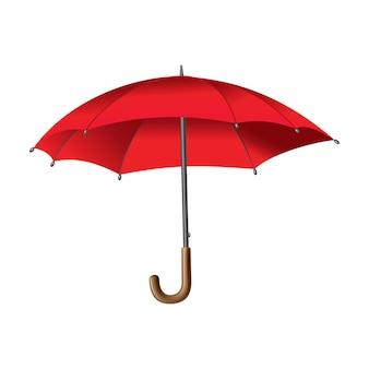 빨간 우산. 흰색 배경에 고립. 파라솔이 열렸습니다. 휴대용 비 또는 바람막이 보호.