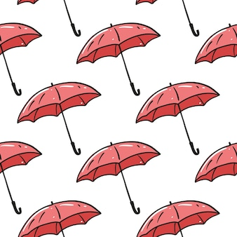赤い傘のシームレスなパターン。手で書いた