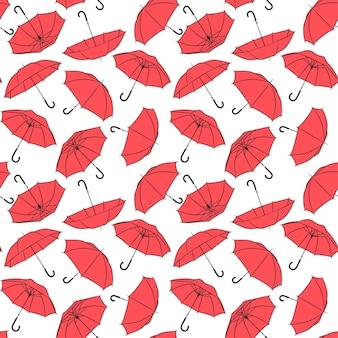 赤い傘のシームレスパターン