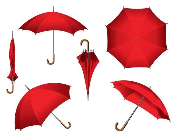 다양한 위치에 놓인 빨간 우산. 흰색 배경에 고립. 열린, 접힌 또는 상위 뷰 벡터 항목의 컬렉션입니다.