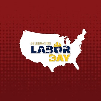 Red usa labor day design with map