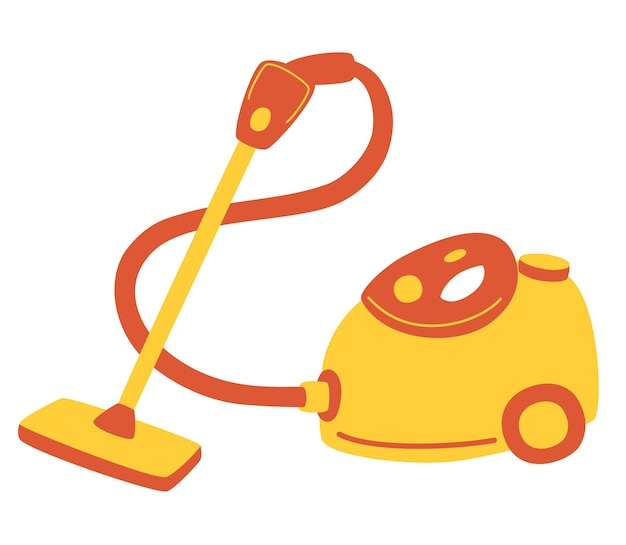 赤い掃除機。掃除用電気器具。家庭用および専門家用掃除機。 webデザインのフラットイラストベクトルアイコン