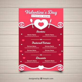Шаблон меню из красного валентина