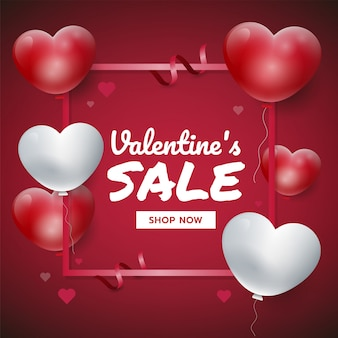 Red valentine's day background with 3d hearts. sales promotion vector illustration, for website