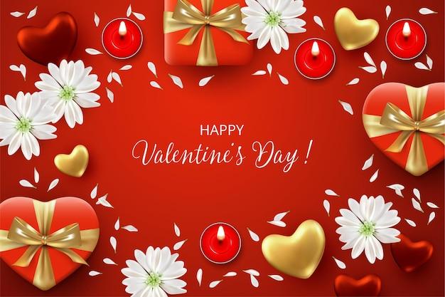 赤いバレンタインデーのバナー。ギフト、キャンドル、白い花と花びらが付いたホリデーギフトカード