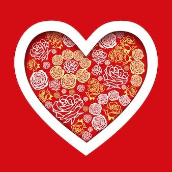 花のハートと赤いバレンタインデーカード