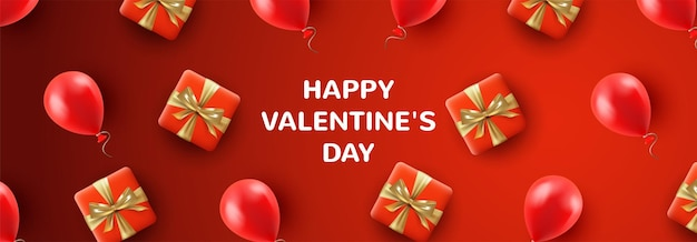 Red valentine's day web banner with gifts and balloons in a realistic style