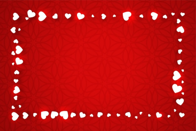 Red valentines day banner with hearts frame