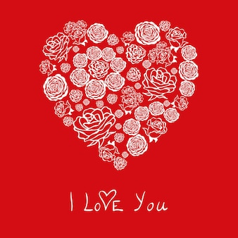 Red valentines day card with beautiful white hearts of flowers roses