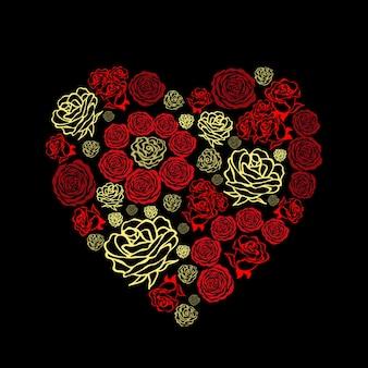 Красная открытка на день святого валентина с красивыми белыми сердцами из цветов роз