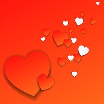 赤と白のハートの赤いバレンタインデーカード