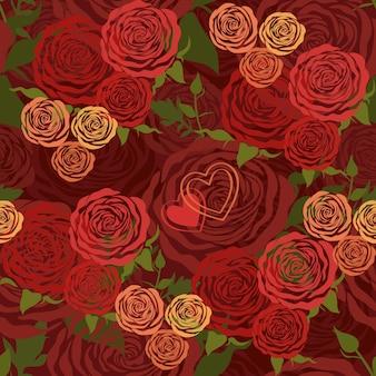 花のバラと赤いバレンタインデーの花のシームレスなパターン
