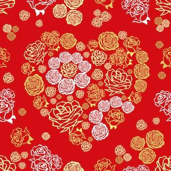 Красный день святого валентина бесшовные модели с красочными сердцами из роз rlower