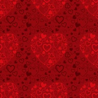 心と赤いバレンタインデーのシームレスなパターン