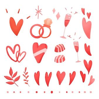Red valentines love doodle set