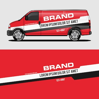 Red van wrap design wrapping sticker and decal
