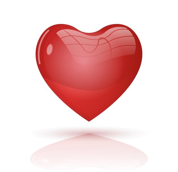 빨간 벡터 심장 3d 스타일입니다.