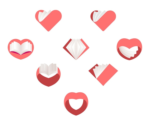 Red vector hearts set collection of love images st valentines