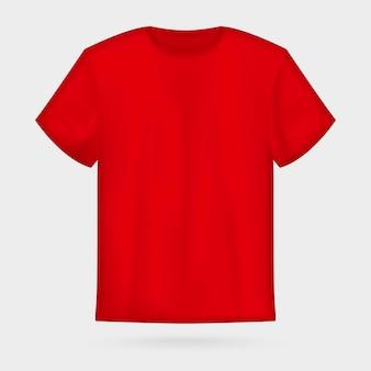 赤いベクトルのメンズtシャツのモックアップ。