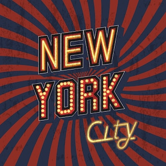 Red vector vintage new york t-shirt print with shabby texture