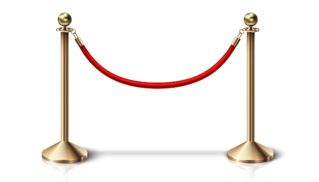 Red velvet barrier rope with golden details.  on white background.