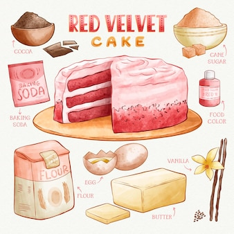 Red velvet cake delicious watercolour recipe