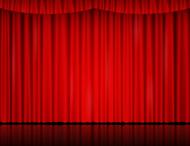 Red velvet curtain in theater or cinema. vector background with closed stage curtains with drapery and reflection on glossy floor. red fabric drapes lit by searchlight