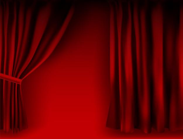 Красные бархатные сложенные шторы